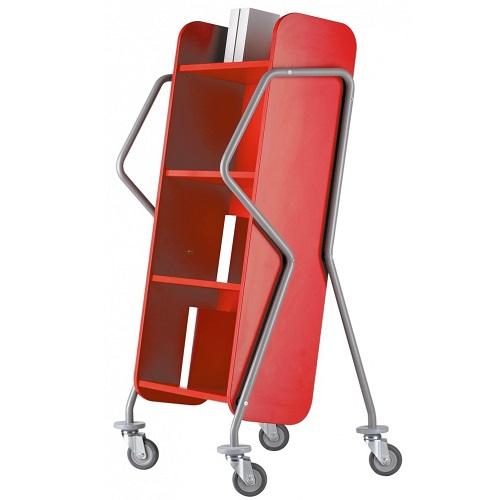Bücherwagen Querläufer rot