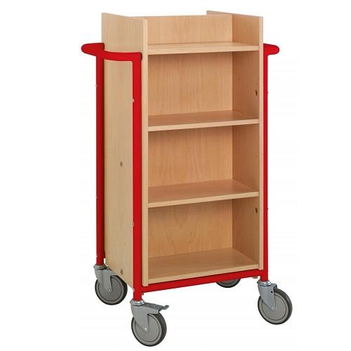 Bücherwagen Gotland buche/rot