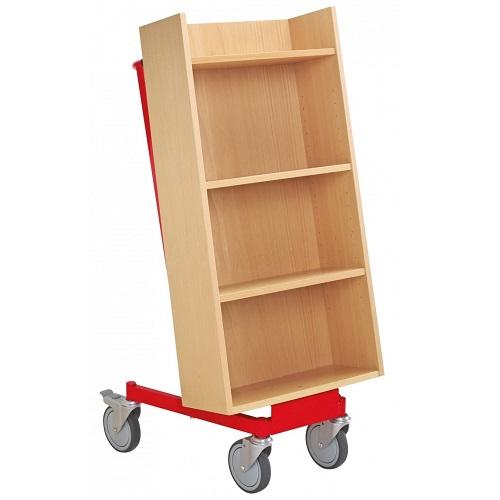 Bücherwagen Halland buche/rot