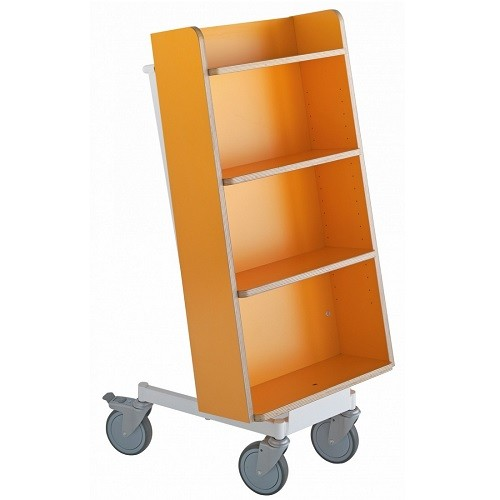 Bücherwagen Halland Plus orange/weiß