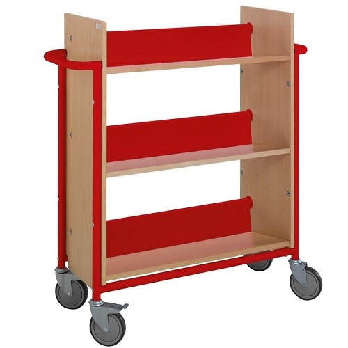 Bücherwagen Öland buche/rot