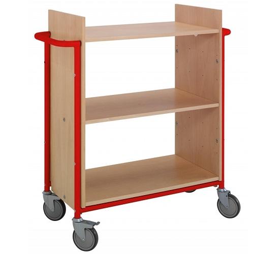 Bücherwagen Ven buche/rot