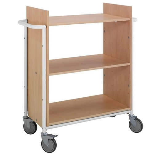 Bücherwagen Ven buche/weiß