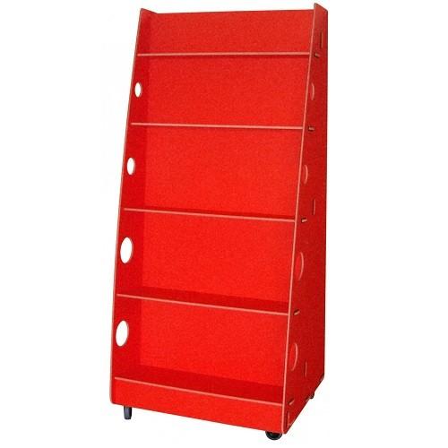 Mobiler Bücherständer rot