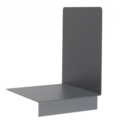 Buchstützen aus Metall mit Stopper grau