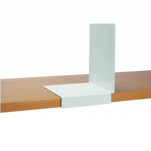 Buchstützen aus Metall mit Stopper weiß