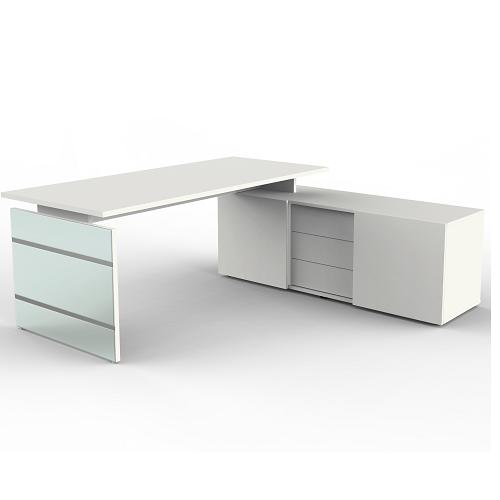 Schreibtisch Lugano mit Sideboard weiss