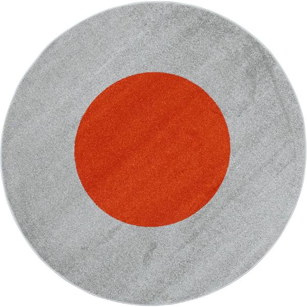 Rundteppich grau-orange