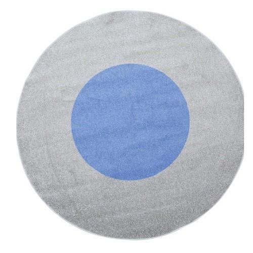 Rundteppich grau-blau