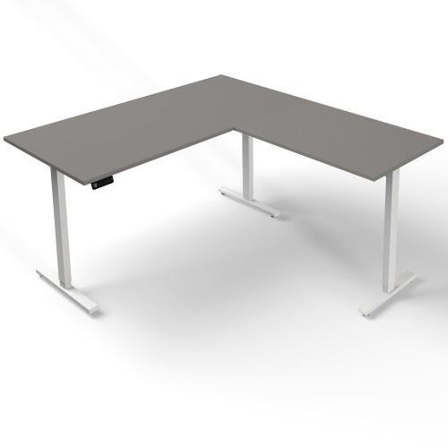 höhenverstellbarer Schreibtisch mit Anbautisch